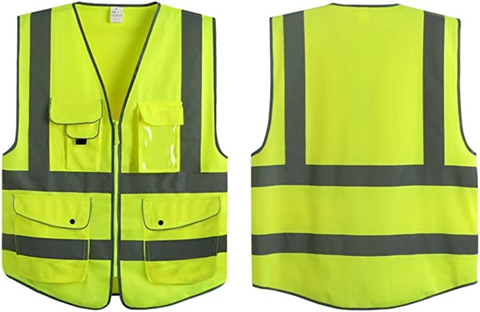 Reflective Neon Green Safety Vest With ID Holder HIGH VISIBILITY!