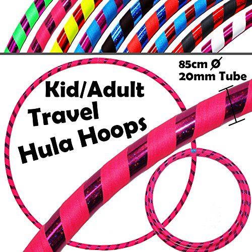 KID's HULA HOOPS - Quality Weighted Children's Hula Hoops! Great For Exercise, Dance, Fitness & FUN! NO Instructions needed! Same Day Dispatch! (UV Pink / Purple Glitter)