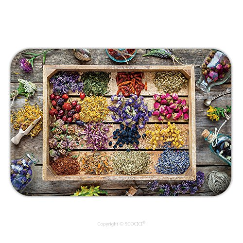 Flannel Microfiber Non-slip Rubber Backing Soft Absorbent Doormat Mat Rug Carpet Healing Herbs In Wooden Box On Table Herbal Medicine Top View Flat Lay 443045425 for Indoor/Outdoor/Bathroom/Kitchen/Wo