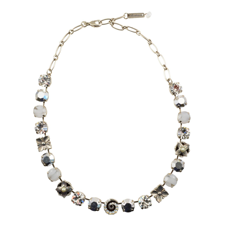 Mariana Gardenia Antique Silver Plated Large Swarovski Crystal Necklace, 18''