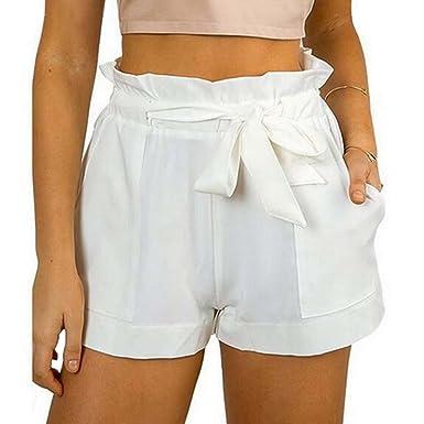 47cd986c58 EXIU Femme Taille élastique Short de Jambe Large: Amazon.fr ...