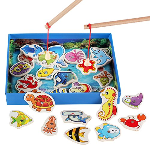 OLizee Wooden Magnetic Fishing Game with 26 Fishes and 2 Poles Back Side Has Letters Colorful Playset Educational Toy, Reverse Side Letters by OLizee
