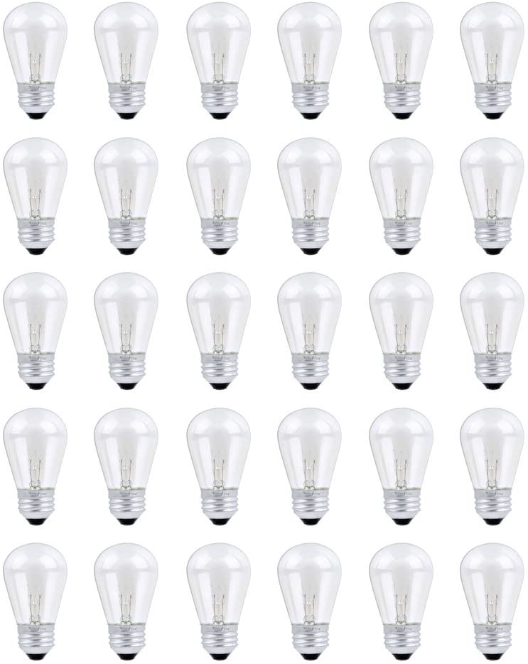 30 Pack S14 Outdoor String Light Bulbs Set, 120V 11W Clear Outdoor Patio Vintage Light Shatterproof Bulbs
