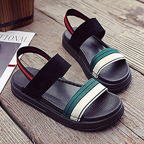 PU de de ZHZNVX Casual Mujer Negro US8 Confort UE39 Rojo CN39 Verano UK6 Negro Zapatos Verde para Sandalias Planas Talón CRXCqpt