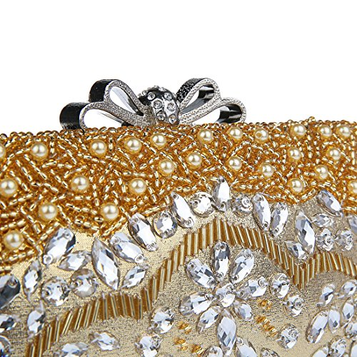 KAXIDY Bandoulière Fleurs Or Sac Pochette Pochette de Sac Sac Paillettes Mariage Femme Classique Soirée r1Hqnr