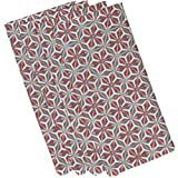 E by design N4G772OR15 Water Mosaic Geometric Print Napkin (Set of 4), 19'' x 19'', Coral