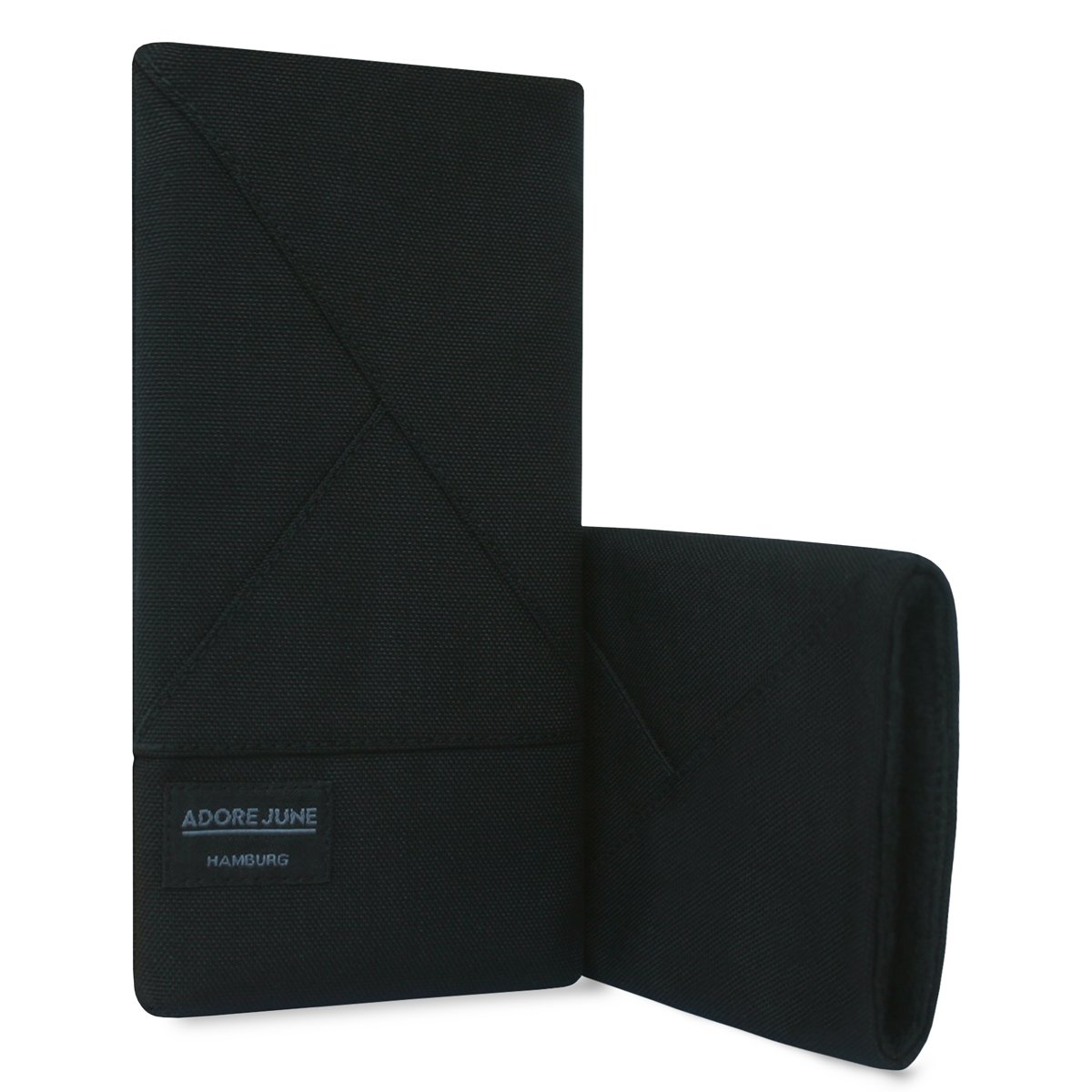 Schwarz Elegante Handytasche aus widerstandsf/ähigem Textil-Stoff mit Display-Reinigungseffekt Adore June Tasche Triangle kompatibel mit Apple iPhone 11 Pro Max