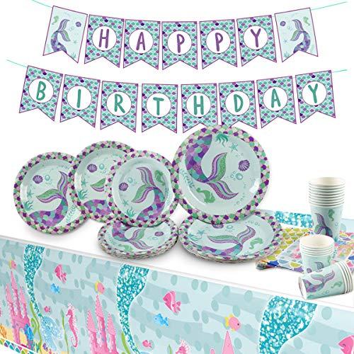 Mermaid Birthday Party Supplies Pack   Serves 16   Mermaid Birthday Decorations   Happy Birthday Banners  Mermaid Plates  Napkins   Cups  Table Cloth by QIFU (Mermaid Party Pack) -