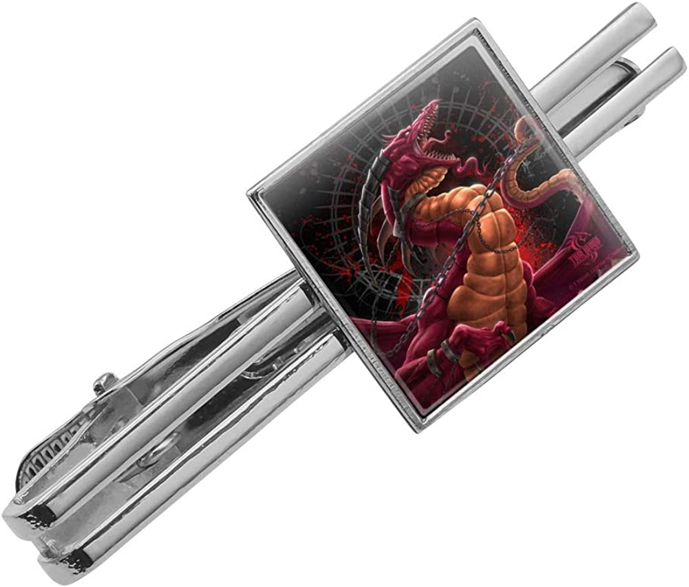 Silver Gold Graphics and More Fantasy Dragon Chained Unleashed Square Tie Bar Clip Clasp Tack