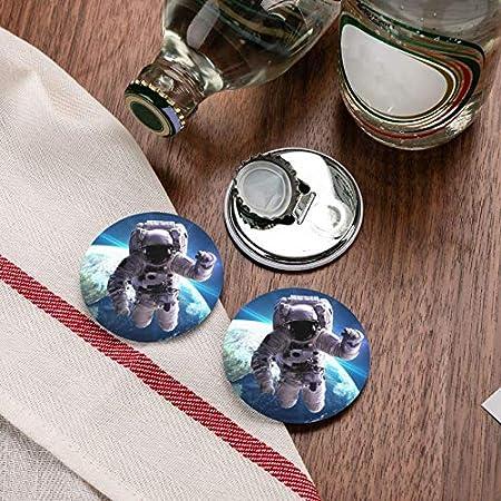 Abridores de botellas redondos de astronauta 3d / Imanes de nevera Sacacorchos de acero inoxidable Etiqueta magnética 2 piezas