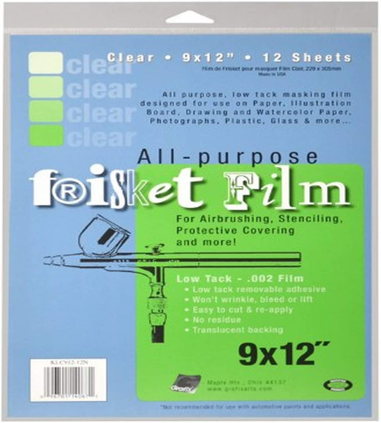 Pack of 100 Grafix Extra Tack Frisket Film Sheets 9-Inch-by-12-Inch