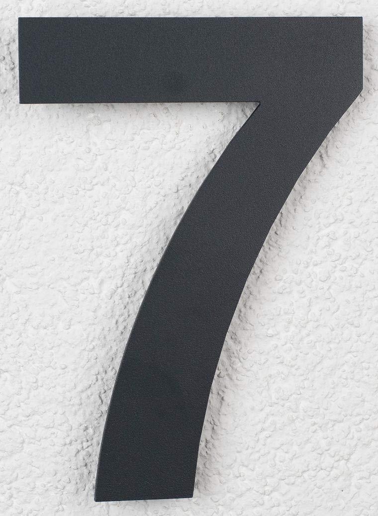 SEM Hausnummer 7 Edelstahl Pulverbeschichtet Anthrazit RAL 7016 16cm 160mm modern SE Metalltechnik