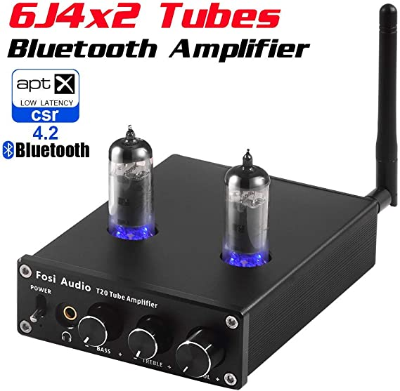 T20 Bluetooth Tube Amplifier Stereo Receiver 2 Channel Class D Digital Mini Hi-Fi Power Amp Preamp Compact Integrated Headphone Amplifier for Home Passive Speakers with 6J4 Vacuum tubes + Power Supply