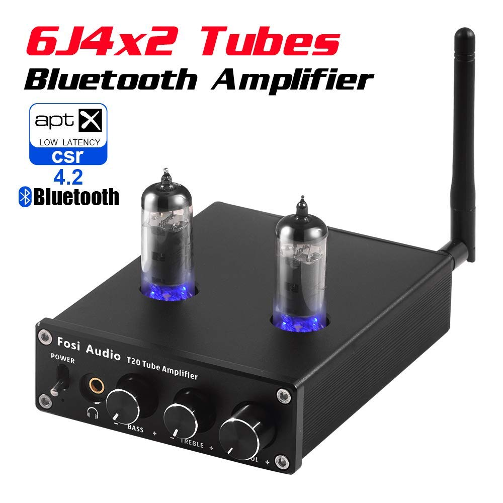 T20 Bluetooth Tube Amplifier Stereo Receiver 2 Channel Class D Digital Mini Hi-Fi Power Amp Preamp Compact Integrated Headphone Amplifier for Home Passive Speakers with 6J4 Vacuum tubes + Power Supply by Fosi Audio