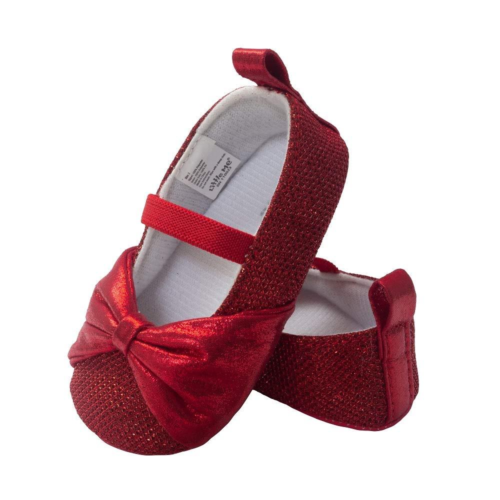 f203ca883eb65 Little Me Kids' Red Sparkle Glitter Ballet Baby Girl Shoe