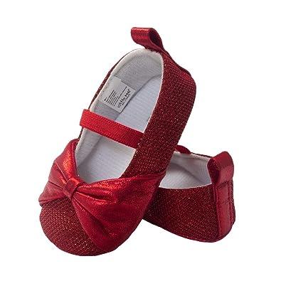 a2d81458153c6 Little Me Kids' Red Sparkle Glitter Ballet Baby Girl Shoe