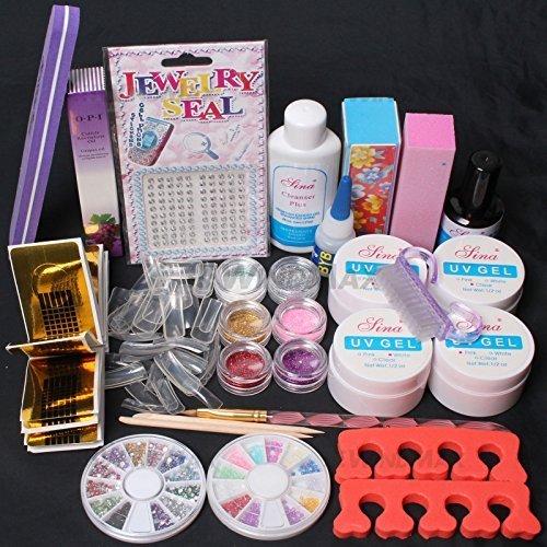 US Seller ~ Nail Art Comb Set UV Gel Kit UV Brush Buffer Guides Toe Seperator Glitter Powder Dryer Liquid Tools Nail Tips Glue DIY Kit #168 (G)