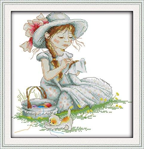 LovetheFamily クロスステッチキット DIY 手作り刺繍キット 正確な図柄印刷クロスステッチ 家庭刺繍装11CT ( インチ当たり11個の小さな格子)中程度の格子 刺しゅうキット フレームがない - 37×39 cm 女の子の刺繍