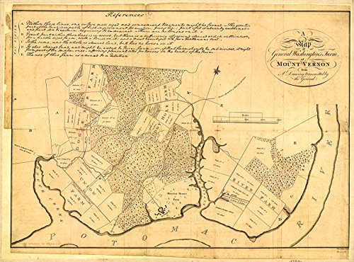 Historic 1801 Map | A map of General Washington's farm of Mount Vernon from a drawing transmitted by the General. 44in x (General Map)