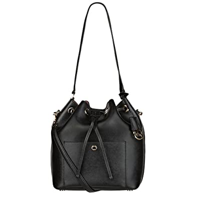 6eb0602c034e55 MICHAEL Michael Kors Greenwich Black Large Bucket Bag one size Black/Dusty  Rose