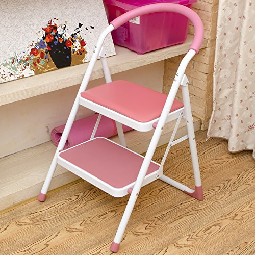 Kitchen 2 Step Stool Chairs for Adults & Kids Iron Small Folding Anti-Slip Ladder Portable Footstool/Stepladder/Storage Shelf/Flower Rack (Color : Pink, Size : 2 Tiers)