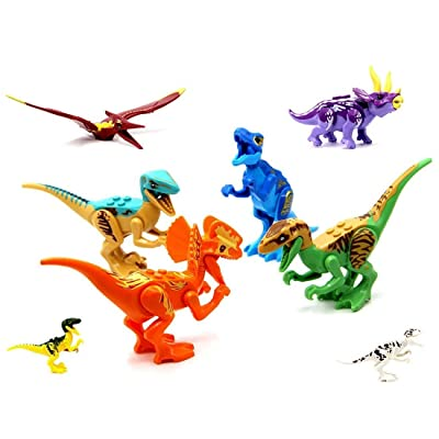 Greshare Dinosaur Toys:T-Rex Double Ridge Dragon Tyrannosaurus Pterosaurs Pirates of The Dragon Triceratops Raptor, 8X Jurassic World Dinosaurs Brick Blocks,8 x Dinosaur Toy Building Blocks: Toys & Games