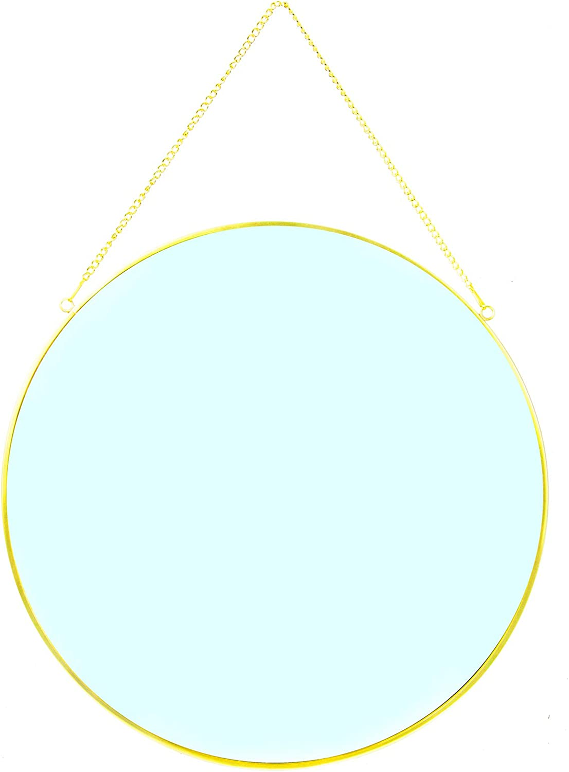 """CoolXuan Round Hanging Mirror for Wall Gold 13.78"""" Circle Mirror with Chain Wall Mounted for Minimalist Home Decor (Round, L,Golden, 13.78"""" x 13.78"""")"""