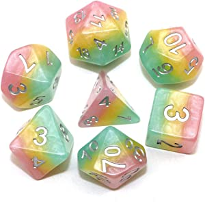 Polyhedral DND Dice Set Transparent Rainbow Dice Compatible Dungeons and Dragons Role Playing Game(RPG),MTG,Pathfinder,Table Game,Board Games Dice Set (Pink Yellow Green)