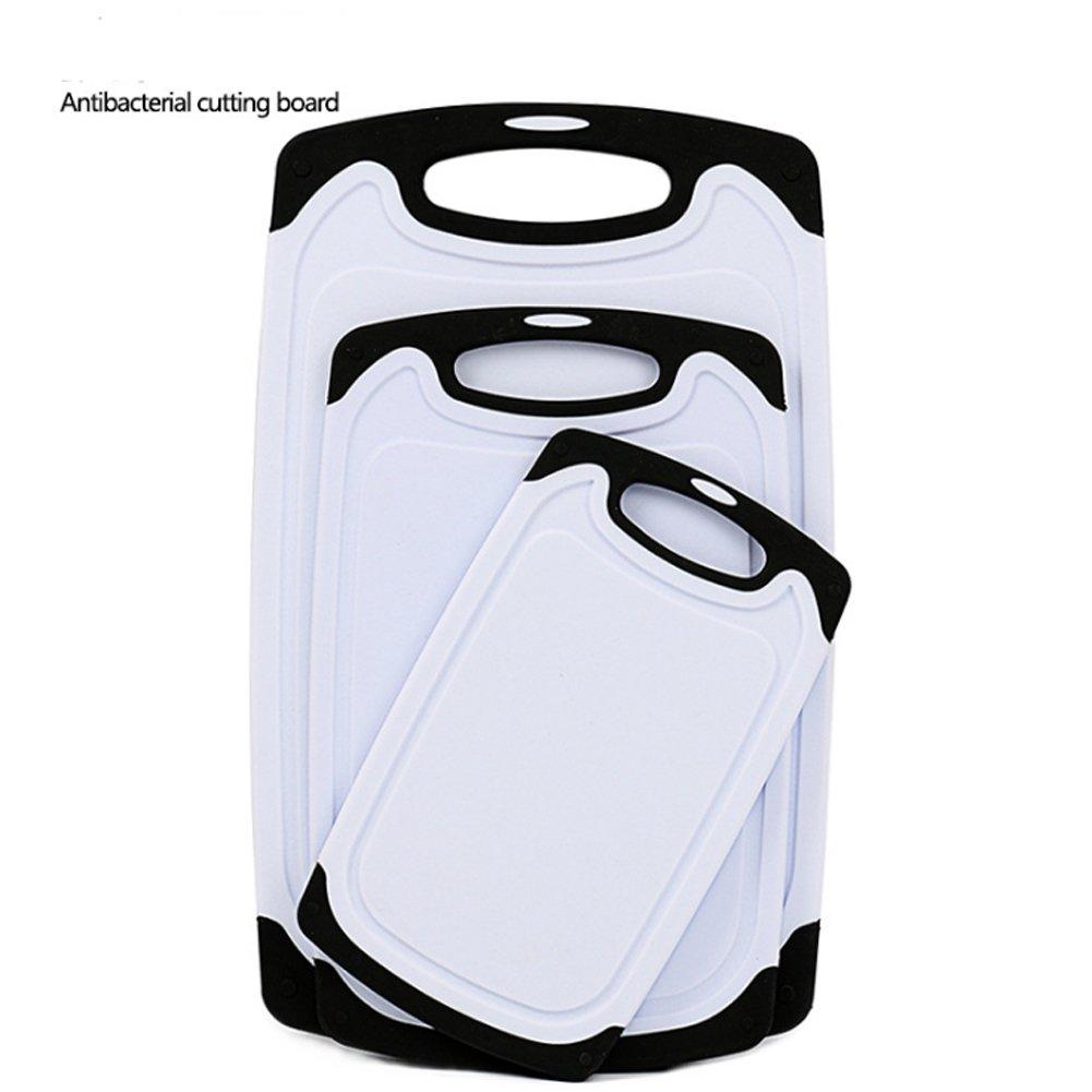 Ankooki - Juego de 3 tablas de cortar de plástico con base antideslizante, pies y ranura para goteo, aptas para el lavavajillas, negro
