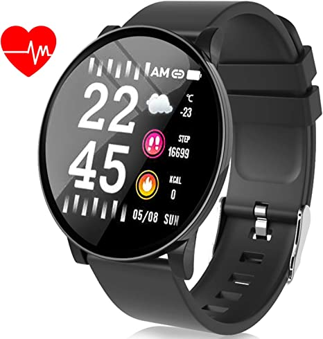 Smart Watch for Men- Fitness Tracker Plus 1.3 IPS with Heart Rate Monitor Blood Pressure Blood Oxygen Monitor Sleep Monitor Calorie Camera Music ...
