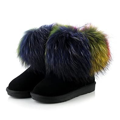 Suede Womens Flat Heel Round Toe Colorful Rabbit Fur Handmade Ankle Snow Boot