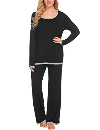 e1ea9581d9 Ekouaer Women s Comfort Pajamas Sleepwear Top with Pants Pajama Set Long  Sleeve Pj Set