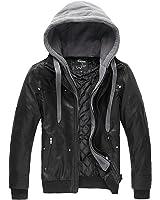 Wantdo Men's Faux Leather Jacket Detachable Hood Coat