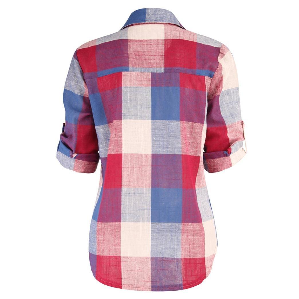 ❤️ Manga Larga de Cuadros de Mujer,Bot/ón de Color a Juego Casual Camisa Suelta Blusa Arriba Absolute