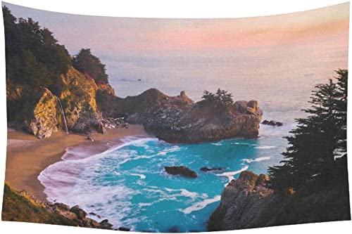 INTERESTPRINT Landscape Nature Scenery Wall Art Home Decor, California Ocean Waterfall Mountain at Sunset Tapestry Wall Hanging Art Sets 90 X 60 Inches