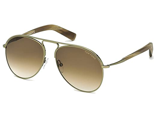 1439e5f0ec23 TOM FORD CODY TF448 FT0448 33F 56mm Mens Round Aviator Sunglasses BRUSHED  GOLD BROWN GRADIENT  Amazon.co.uk  Clothing