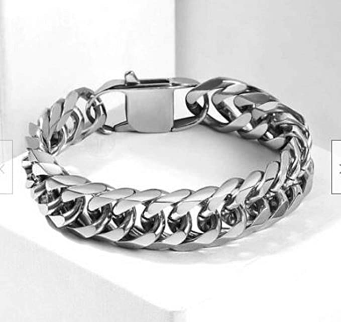 10mm Black Cut Double Curb Cuban Link Rombo Chain 316L Stainless Steel Bracelet