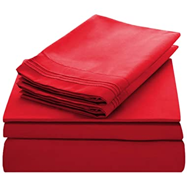 Lux Decor Collection Bed Sheet Set - Brushed Microfiber 1800 Bedding - Wrinkle, Stain and Fade Resistant - Hypoallergenic - 4 Piece (Queen, Embroidery Burgundy)