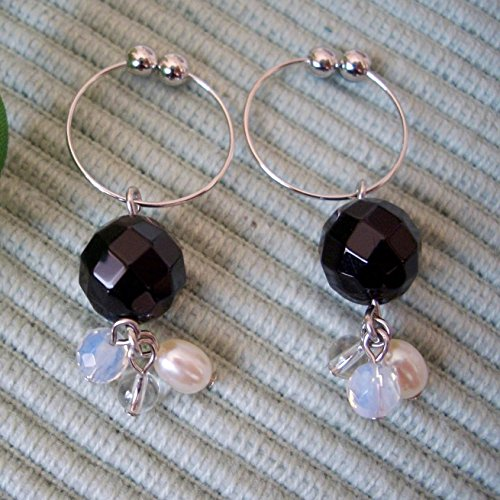 Onyx & Freshwater Cultured Pearl & Opal & Clear Quartz . Non-hall Pierced Earrings Gemstones . Silver Plating Earrings