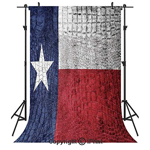 (Western Decor Photography Backdrops,Texas State Flag Painted on Luxury Crocodile Snake Skin Texture Looking Patriotic Emblem Decorative,Birthday Party Seamless Photo Studio Booth Background Banner 3x5)