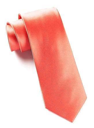 TheTieBar - Corbata de satén (100% seda tejida), color coral ...