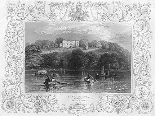 - BERKS. Park Place, Henley Maitland. Oxon. boat - 1840 - old print - antique print - vintage print - Berks art prints