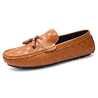 TRULAND Mocasines Brogue con Borlas en Cuero Genuino para Hombres: Amazon.es: Zapatos y complementos