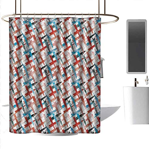 (J Chief Sky Bathroom Shower Curtains Psychedelic,Grunge Graffiti Inspired Patterns Street Art Spray Paint Chaos of Colors Artwork,Red Blue Bathroom Curtain with 12 Hooks W48 x L72)