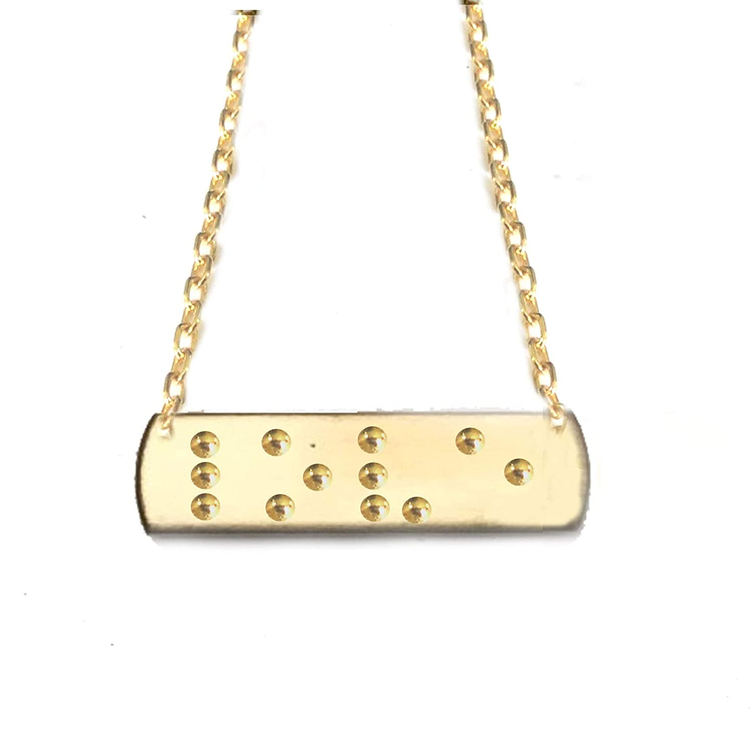 Amazon Com Braille In Love Necklace Hand Stamped Handmade Rectangle Jewelry Pendant Brass Or Copper Or Silver Handmade