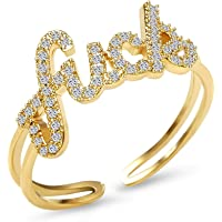 Cubic Zirconia Statement Ring 18K Gold Plated Personalized Adjustable Rapper Ring Inspirational Gift for Women&Men