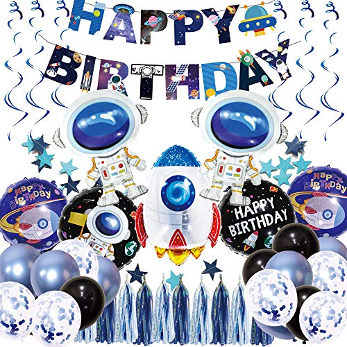 Science Fiction birthday balloons Astronaut Hanging Swirl Decoration Universe Space Happy Birthday Banner with Colorful tassels Space Themed Birthday Party Supplies -