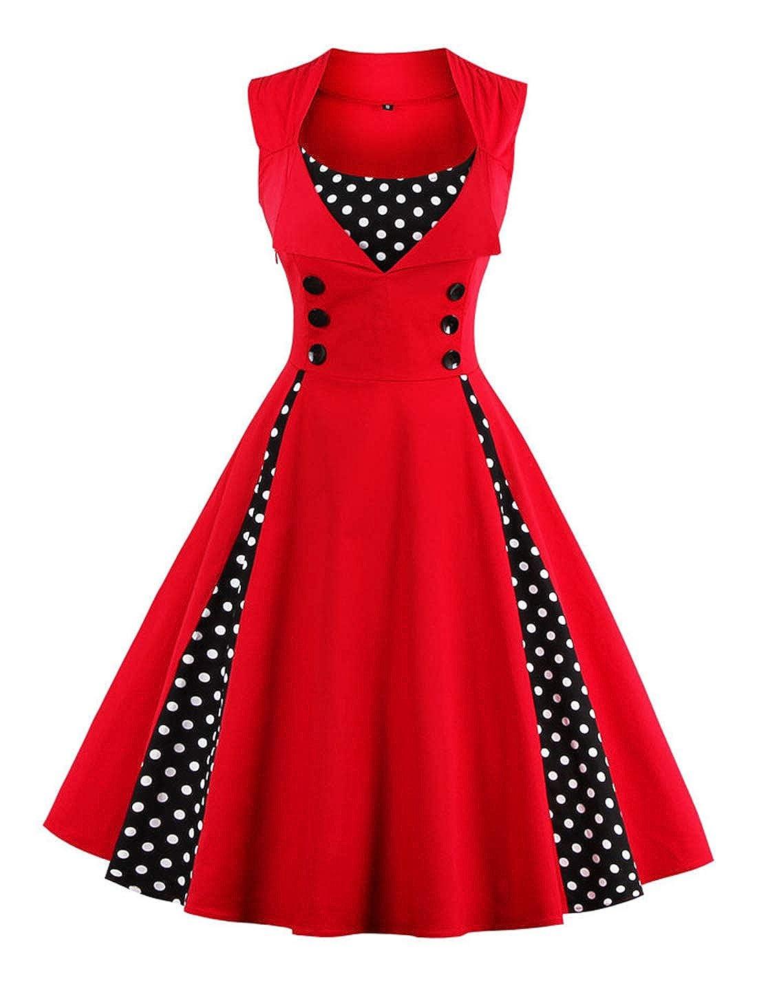 Red Jenkoon Women's Sleeveless Hepburn Polka Dot Retro Vintage Style Cocktail Party Swing Dresses