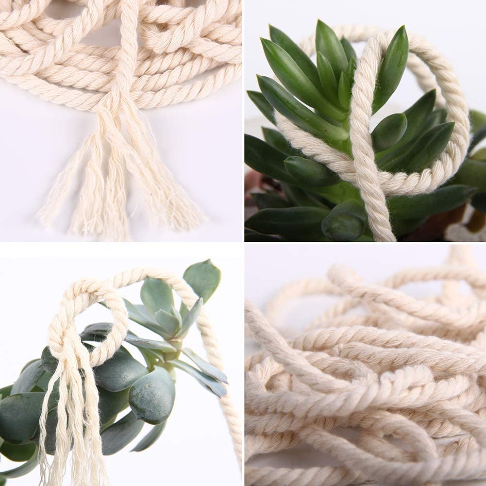 3 Strand Twisted Cotton Rope Macrame Yarn Colored Macrame Rope Knitting /& Crocheting Crafts Plant Hangers Colorful Cotton Craft Cord for Wall Hanging XKDOUS Yellow Cotton Macrame Cord 4mm