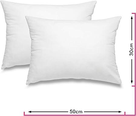 wometo - Juego de 2 cojines de plumas 100% plumas, certificado OekoTex, funda de algodón, color blanco I cojín interior/relleno de almohada pequeña (muchas medidas), algodón, Blanco, 30 x 50 cm: Amazon.es: Hogar